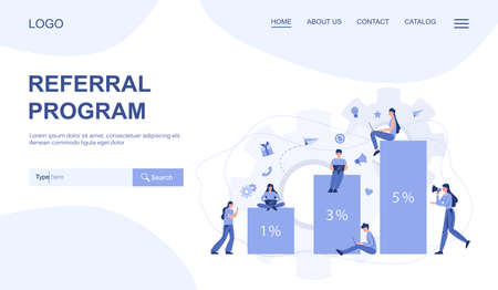 Referral program web banner or landing page. Woman advertising