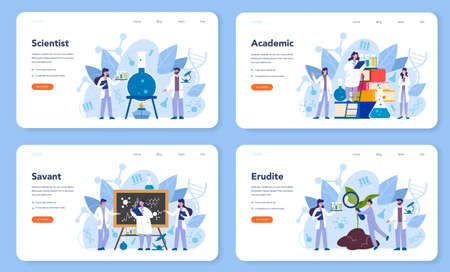 Scientist concept web banner or landing page. Idea of education
