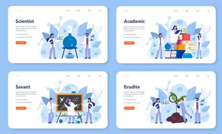 Wetenschapper concept webbanner of bestemmingspagina. Idee van onderwijs