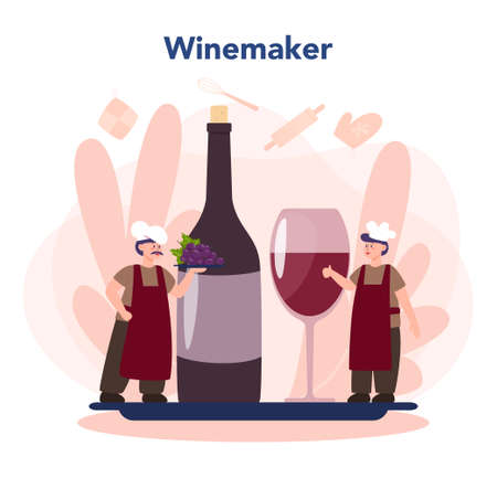 Wine maker concept. Man wearing his apron with a bottle of a red