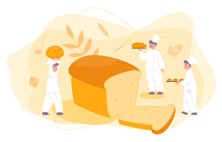 Baker and bakery concept. Chef in the uniform baking bread.