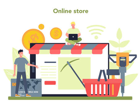 Coal or minerals mining online service or platform. Online store