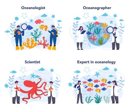 Oceanologist concept set. Oceanography scientist. Practical studying 矢量图像