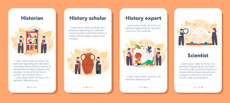 Historian mobile application banner set. History science, paleontology