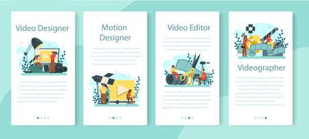 Motion or video designer mobile application banner set. Artist create