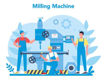 Miller and milling concept illustration. Engineer drilling meta