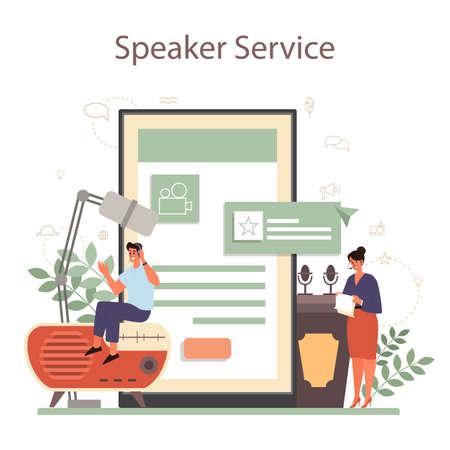 Professional speaker, commentator or voice actor online service