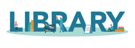 Library typographic header concept. Library staff holding and sorting
