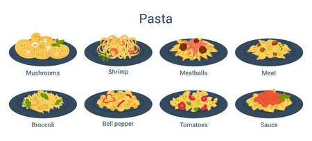 Spaghetti or pasta set. Italian food on the plate. Delicious dinner