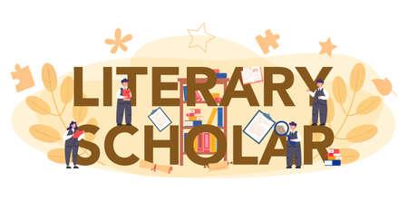 Professional literary scholar or critic typographic header concept.
