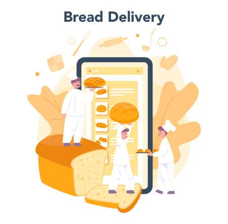 Baker and bakery online service or platform. Chef in the uniform Ilustração