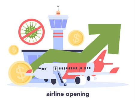 Airlines and travel industry recovery. Coronavirus COVID-19 lockdown Illusztráció