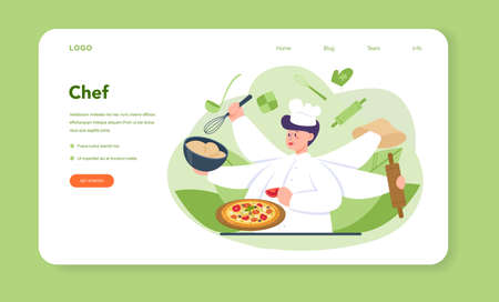 Pizzeria web banner or landing page. Chef cooking tasty delicious 向量圖像