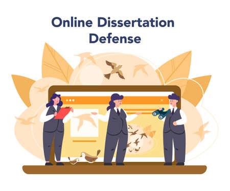 Ornithologist online service or platform. Professional scientist study birds. Online dessertation defense. Isolated vector illustration Illustration