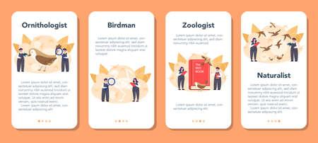 Ornithologist mobile application banner set. Professional scientist
