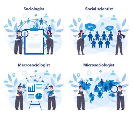 Sociologist concept set. Scientist study of society, pattern of social Stock Illustratie