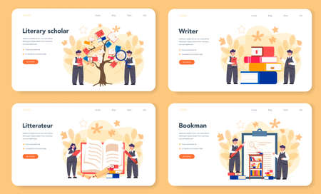 Literary scholar or critic web banner or landing page set. Scientist studying and research works of literature, history of literature, genres, and literary criticism. Flat vector illustration Ilustración de vector