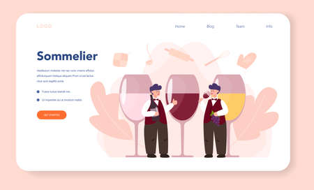 Sommelier web banner or landing page. Man with a bottle Illustration