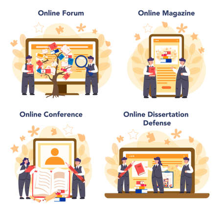 Literary scholar or critic online service or platform set. Scientist studying and research works of literature. Online forum, magazine, dessertation defense and conference. Flat vector illustration Illustration