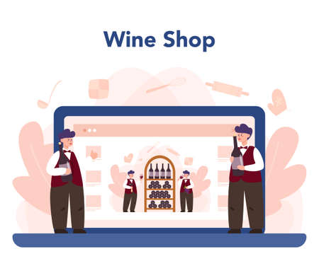 Sommelier online service or platform. Man with a bottle of grape