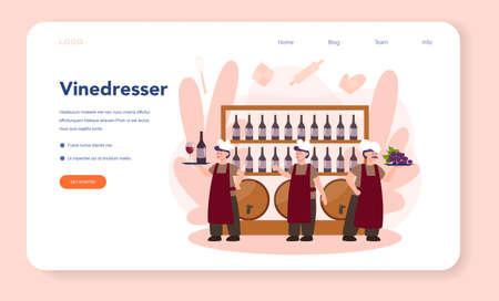 Wine maker web banner or landing page. Man wearing his apron