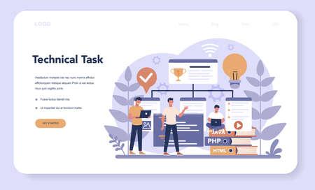 Web programming web banner or landing page. Coding, testing  イラスト・ベクター素材