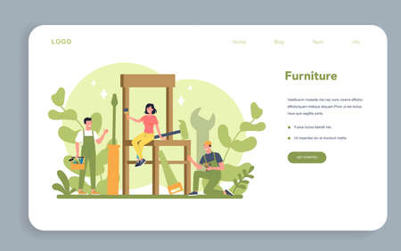 Wooden furniture web banner or landing page. Furniture store word Stock Illustratie