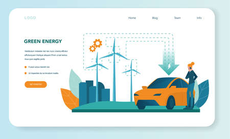 Alternative energy web banner or landing page. Idea of ecology frinedly power and electricity. Save the environment. Solar panel and windmill. Isolated flat vector illustration