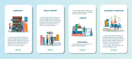 Librarian mobile application banner set. Library staff holding