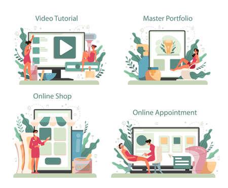 Depilation and epilation online service or platform set. Hair removal Ilustración de vector