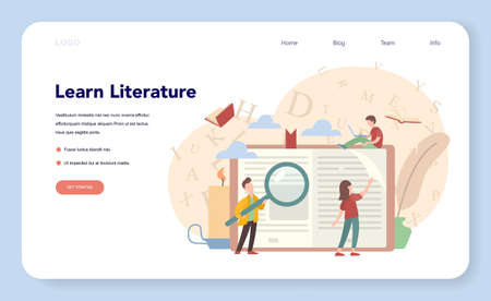 Literature school subject web banner or landing page. Idea of education and knowledge. Study ancient writer and modern novel. Vector illustration in flat style