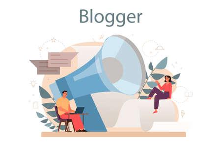 Blogger concept. Sharing media content in the internet. Idea of social 矢量图像