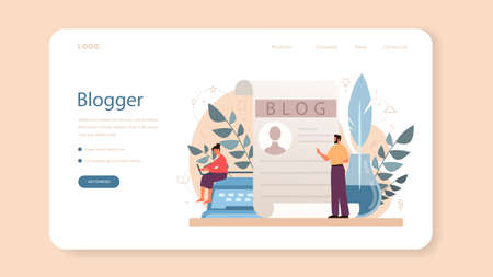 Blogger web banner or landing page. Sharing media content