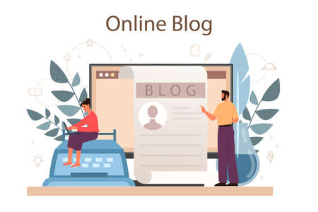 Online blog. Sharing media content in the internet. Idea of social media and network. Isolated flat vector illustration