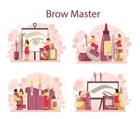 Eyebrow master and designer concept set. Master making perfect brow. Idea of beauty and fashion. Eyebrow shaping specialist. Beauty routine concept. Flat design, vector illustration