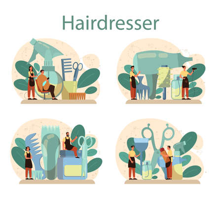 Hairdresser concept set. Idea of hair care in salon. Scissors and brush, shampoo and haircut process. Hair treatment and styling. Isolated vector illustration