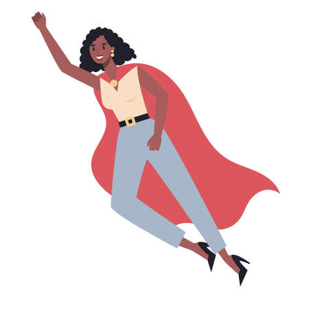 Businesswoman with red superhero cloak. Woman with a power