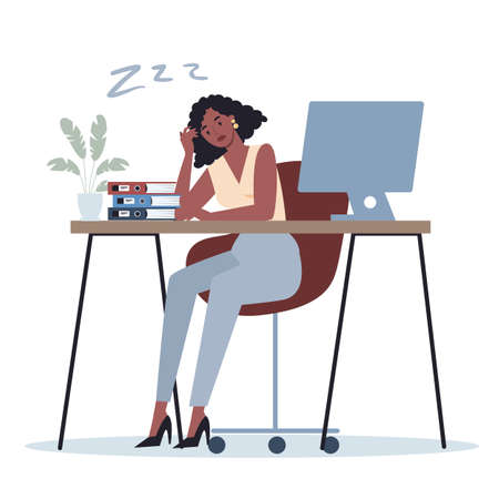 Exhausted business woman in the office. Business character with lack