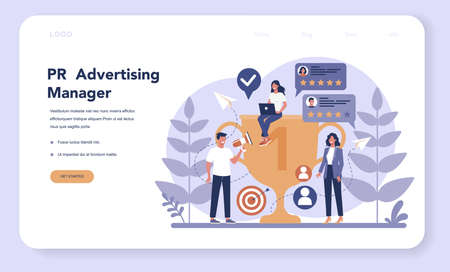 Public relations web banner or landing page. Idea of making