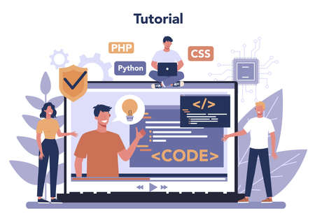 Programming online service or platform. Coding, testing and writing