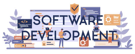 Software development typographic header concept. Idea of