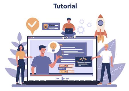 Software developer online service or platform. Idea of programming