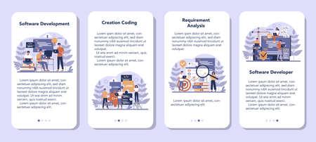 Software mobile application banner set. Idea of programming