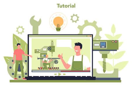 Miller and milling online service or platform. Engineer drilling metal Vecteurs