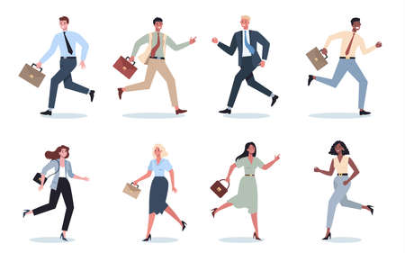 Business character with briefcase running set. Business man or