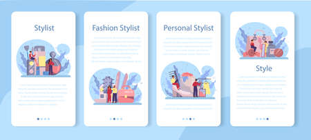 Fashion stylist mobile application banner set. Modern, creative job