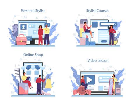 Fashion stylist online service or platform set. Modern, creative job.