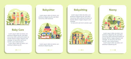 Babysitter service or nanny agency mobile application banner set.