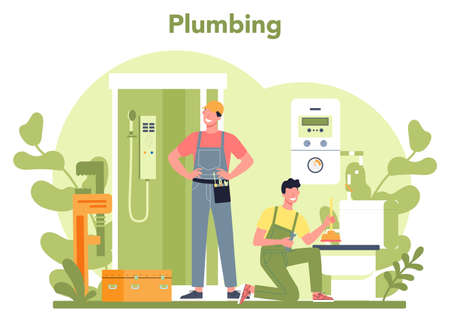 Plumbing service concept. Professional repair and cleaning