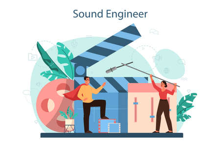 Sound engineer concept. Music production industry, sound recording
